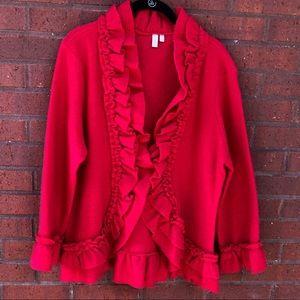 Madison Wool Cardigan XL Ruffle Bell Red Snap